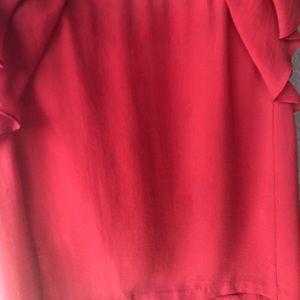 Zara bright red orange shirtsleeve shirt fluttery